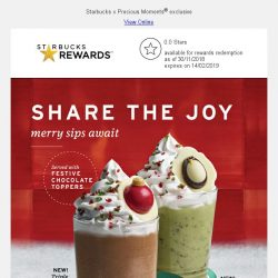 [Starbucks] Two new holiday Frappuccinos®, with festive chocolate toppers ⛄
