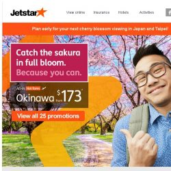 [Jetstar] 🌸 Catch the cherry blossom season in Japan and Taiwan! Book early and save.