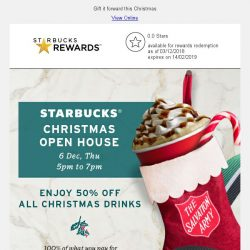 [Starbucks] Join us at Starbucks Christmas Open House on 6 Dec