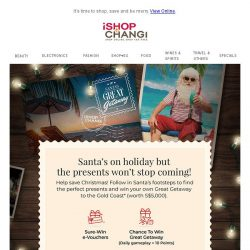 [iShopChangi] 🎅🏻Count down with daily deals at 30% OFF. Plus, win a holiday!