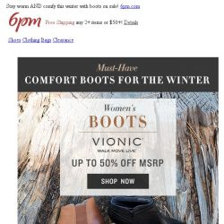 [6pm] Up to 50% off Comfort Boots!