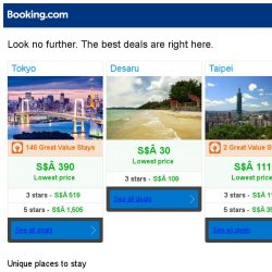 [Booking.com] Tokyo, Desaru and Taipei -- great last-minute deals as low as S$ 30!