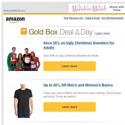 [Amazon] Save 30% on Ugly Christmas Sweaters for Adults