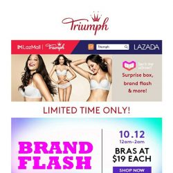 [Triumph] Triumph x Lazada 12.12 Mega Campaign $19 Bras Deal Is Back!