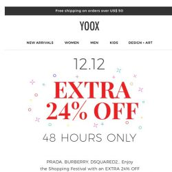 [Yoox] We solved it for you! 12.12 = EXTRA 24% off
