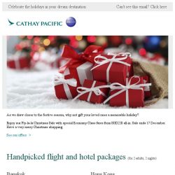 [Cathay Pacific Airways] Fly-la-la Christmas Sale from SGD228 all-in