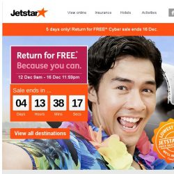 [Jetstar] ✈ Return for FREE^ starts now! Book a flight to any of the 21 destinations and return for FREE^.