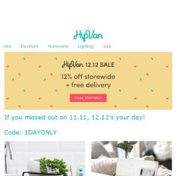 [HipVan] Join in on our 12.12 SALE today!!🔥1DAYONLY🔥