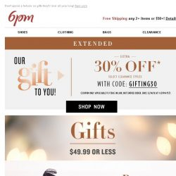 [6pm] $49.99 or Less Gifts + Extended: 30% off Select Styles!