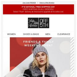 [Saks OFF 5th] Friends & Family Weekend Event: 50% off coats, cashmere-you name it!
