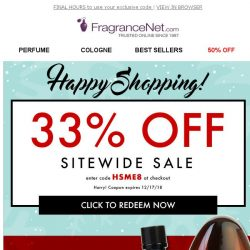 [FragranceNet] EVERYTHING is 33% off! (Happy shopping)