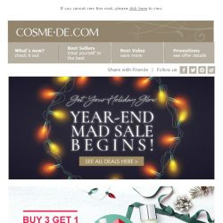 [COSME-DE.com] Get Your Holiday Glow 🌟 Year-End Mad Sale Begins! See All Deals HERE→