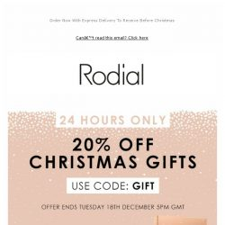 [RODIAL] 20% Off Christmas Gifts | 24 Hours Only 🎄