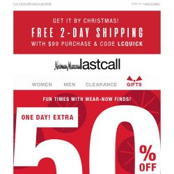 [Last Call] 1 day: extra 50% off women's & men's apparel