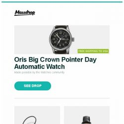 [Massdrop] Oris Big Crown Pointer Day Automatic Watch, MEE audio Pinnacle P2 IEM, Montblanc Heritage Spirit Automatic Watch and more...