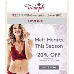 [Triumph] Do Not Miss Our 20% Off On New Arrivals!