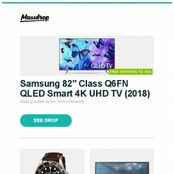 """[Massdrop] Samsung 82"""" Class Q6FN QLED Smart 4K UHD TV (2018), Revue Thommen XL Diver Automatic Watch, LG 27GK750F-B 240Hz 27"""" Gaming Monitor and more..."""
