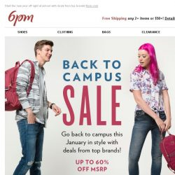 [6pm] Back to Campus & Back to School Sale!