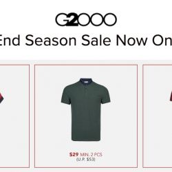 G2000: End Season Sale with Up to 70% OFF + Additional 10% OFF Total Bill with Purchase of 3 Pieces & More