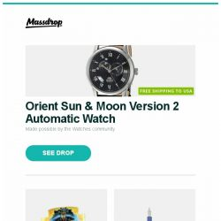 [Massdrop] Orient Sun & Moon Version 2 Automatic Watch, Eternal Masters Booster Box, Namisu Ixion Fountain Pen and more...