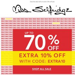 [Miss Selfridge] Up to 70% off sale + an EXTRA 10% off
