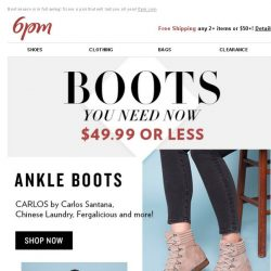 [6pm] $49.99 (or Less) Boots, Boots & More Boots!