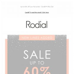 [RODIAL] Sale: New Lines Added