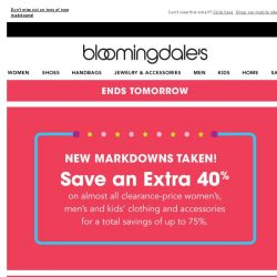 [Bloomingdales] Save up to 75%--ends tomorrow!