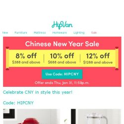 [HipVan] 🐷Usher in Year of the Pig and saveup to 12% off STOREWIDE with us!!🎉