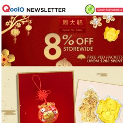 [Qoo10] Chow Tai Fook 8% Off Storewide | It's time to start shopping for your CNY outfits!