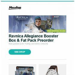 [Massdrop] Ravnica Allegiance Booster Box & Fat Pack Preorder, Ravnica Allegiance Booster Box Preorder, Oris Artelier Small Seconds Automatic Watch and more...