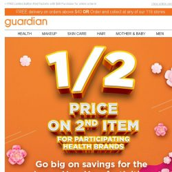 [Guardian] 🌟 Huat's up! 50% off your 2nd item!