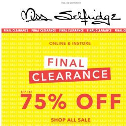 [Miss Selfridge] FINAL CLEARANCE: Up to 75% off sale