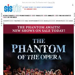 [SISTIC] The Phantom of the Opera - New Shows On Sale!