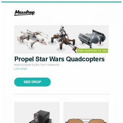 [Massdrop] Propel Star Wars Quadcopters, DarkVoice 336SE OTL Headphone Amp, Randolph Engineering Polarized Aviator Sunglasses and more...