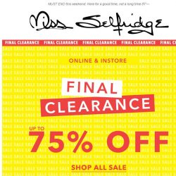 [Miss Selfridge] LAST CHANCE: Final clearance, up to 75% off sale