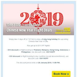 [cheaptickets.sg]  2019 Chinese New Year Flight Sale | Take 3 days Travel 9 days!
