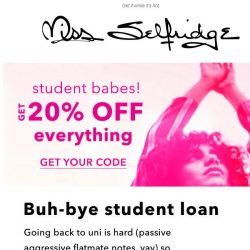 [Miss Selfridge] THIS JUST IN: 20% STUDENT DISCOUNT 💗