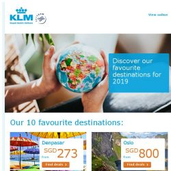 [KLM] Top 10 destinations for 2019