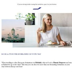 [Finnair] Stop and breathe in Helsinki on your way to Europe
