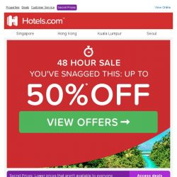 [Hotels.com] Valued subscriber, don't miss out on up to 50% off! SALE ENDS TONIGHT