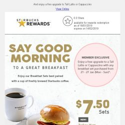 [Starbucks] Start your day with a great breakfast set