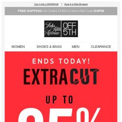 [Saks OFF 5th] Your Schutz item is waiting! + Don't think twice: Up to 85% OFF clearance ENDS soon!