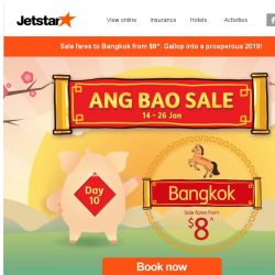 [Jetstar] 💰 Sale fares from $8^ to Bangkok! Grab your tickets fast.