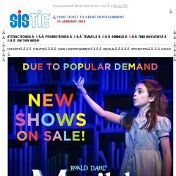 [SISTIC] Matilda The Musical - new shows on sale!