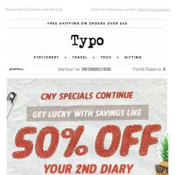 [typo] CNY Deals! 50% off your second diary!