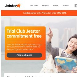 [Jetstar] Trial Club Jetstar commitment free and get access to exclusive member-only fares!