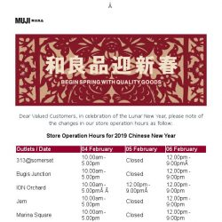 [Muji] MUJI | Store Operation Hours for 2019 Chinese New Year