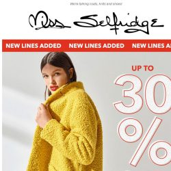 [Miss Selfridge] NEW LINES ADDED: Up to 30% off cold weather
