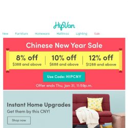 [HipVan] OMG! 😱 Last day of CNY Sale so hurry!